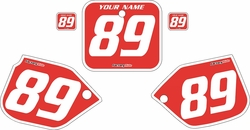 1989-1990 Honda CR500 Pre-Printed Backgrounds Red - White Bold Pinstripe by FactoryRide