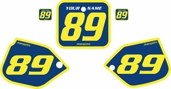 Fits Honda CR500 1987-1988 Blue Pre-Printed Backgrounds - Yellow Bold Pinstripe by FactoryRide