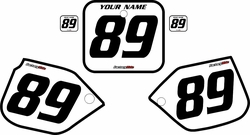 1989-1990 Honda CR500 Pre-Printed Backgrounds White - Black Bold Pinstripe by FactoryRide