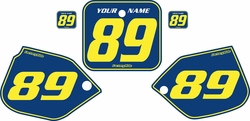 Fits Honda CR500 1987-1988 Blue Pre-Printed Backgrounds - Yellow Pinstripe by FactoryRide