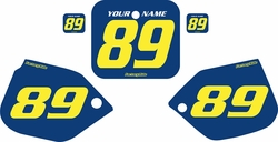 Fits Honda CR500 1987-1988 Blue Pre-Printed Backgrounds - Yellow Numbers by FactoryRide