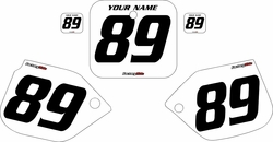 1989-1990 Honda CR500 Pre-Printed Backgrounds White - Black Numbers by FactoryRide