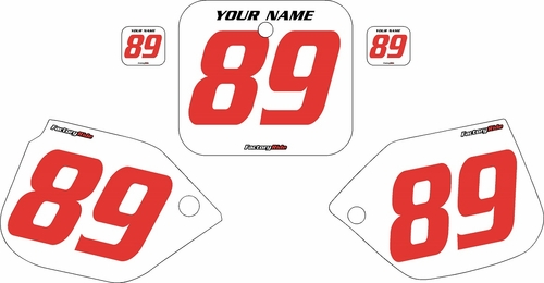 1989-1990 Honda CR125 Pre-Printed Backgrounds White - Red Numbers by FactoryRide