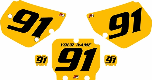 1990-1991 Kawasaki KX125 Custom Pre-Printed Yellow Background - Black Numbers by Factory Ride