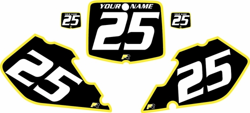 1999-2000 Suzuki RM125 Pre-Printed Backgrounds Black - Yellow Bold Pinstripe by FactoryRide