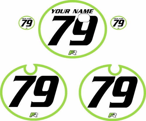 1979 Kawasaki KX250 White Pre-Printed Backgrounds - Green Bold Pinstripe by FactoryRide