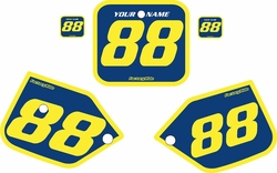 Fits Honda CR125 1987-1988 Blue Pre-Printed Backgrounds - Yellow Bold Pinstripe by FactoryRide