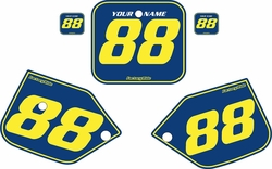 Fits Honda CR125 1987-1988 Blue Pre-Printed Backgrounds - Yellow Pinstripe by FactoryRide