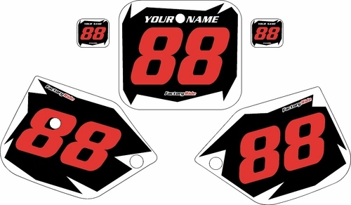 1987-1988 Honda CR125 Pre-Printed Backgrounds Black - White Shock - Red Numbers by FactoryRide