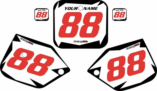 1987-1988 Honda CR125 Pre-Printed Backgrounds White - Black Shock - Red Numbers by FactoryRide