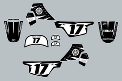 Yamaha PW50 Black Graphics kit Decals by Factory Ride