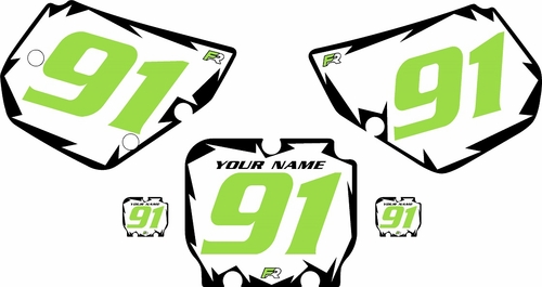 1990-1991 Kawasaki KX125 Pre-Printed White Background - Black Shock Series - GreenNumber by Factory Ride
