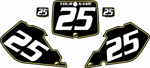 1999-2000 Suzuki RM125 Pre-Printed Backgrounds Black - Yellow Pinstripe by FactoryRide