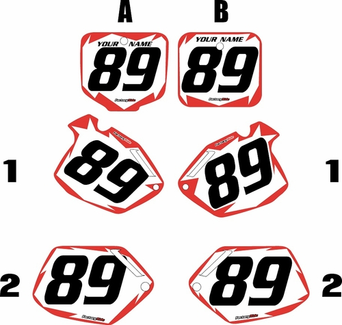1991-2001 Honda CR500 Pre-Printed Backgrounds White - Red Shock Series by FactoryRide