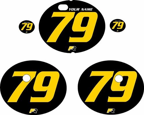 1979-1980 Suzuki RM125 Black Pre-Printed Backgrounds - Yellow Numbers by FactoryRide