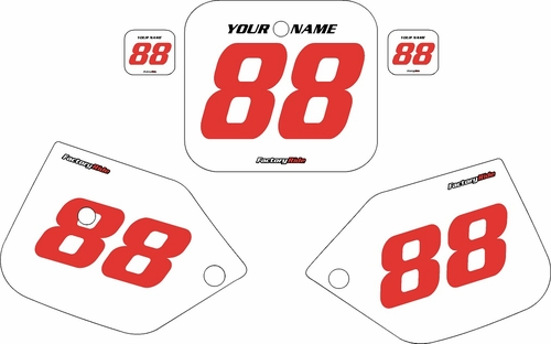 1987-1988 Honda CR125 Custom Pre-Printed Background White - Red Numbers by Factory Ride