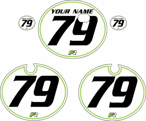 1979 Kawasaki KX250 White Pre-Printed Backgrounds - Green Pinstripe by FactoryRide