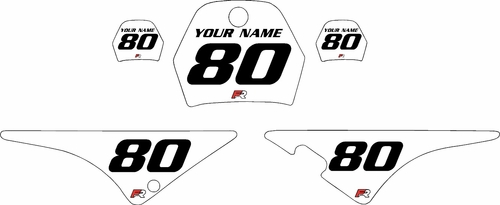 1996-2013 Yamaha PW80 White Pre-Printed Background - Black Numbers by Factory Ride