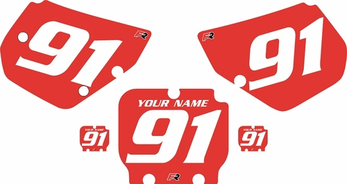 1990-1991 Kawasaki KX125 Custom Pre-Printed Red Background - White Numbers by Factory Ride