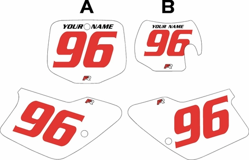 1996-2001 GAS GAS EC125 Custom Pre-Printed Background White - Red Numbers by Factory Ride