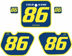 Fits Honda CR125 1985-1986 Blue Pre-Printed Backgrounds - Yellow Bold Pinstripe by FactoryRide