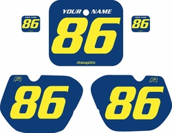 Fits Honda CR125 1985-1986 Blue Pre-Printed Backgrounds - Yellow Numbers by FactoryRide