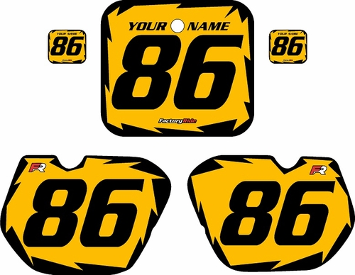 1985-1986 Honda CR125 Pre-Printed Backgrounds Yellow - Black Shock Series by FactoryRide