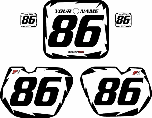 1985-1986 Honda CR125 Pre-Printed Backgrounds White - Black Shock Series by FactoryRide