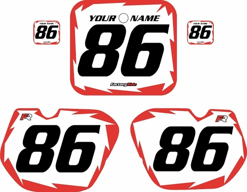 1985-1986 Honda CR125 Pre-Printed Backgrounds White - Red Shock Series by FactoryRide
