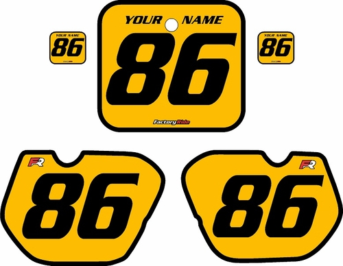 1985-1986 Honda CR125 Pre-Printed Backgrounds Yellow - Black Bold Pinstripe by FactoryRide