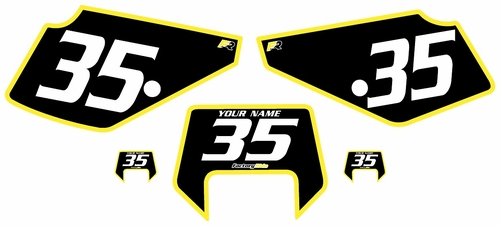 1990-2001 Suzuki DR350 Pre-Printed Backgrounds Black - Yellow Bold Pinstripe by FactoryRide