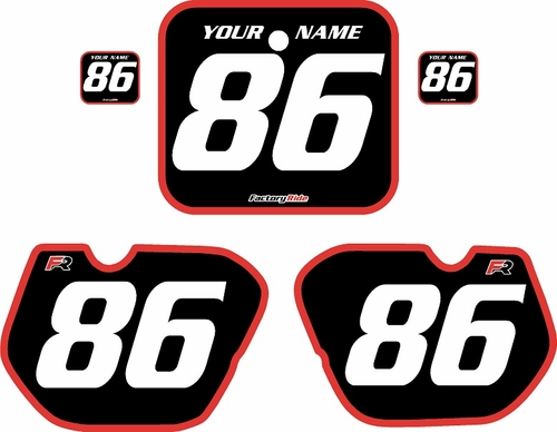 1985-1986 Honda CR125 Pre-Printed Backgrounds Black - Red Bold Pinstripe by FactoryRide