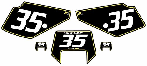 1990-2001 Suzuki DR350 Pre-Printed Backgrounds Black - Yellow Pinstripe by FactoryRide