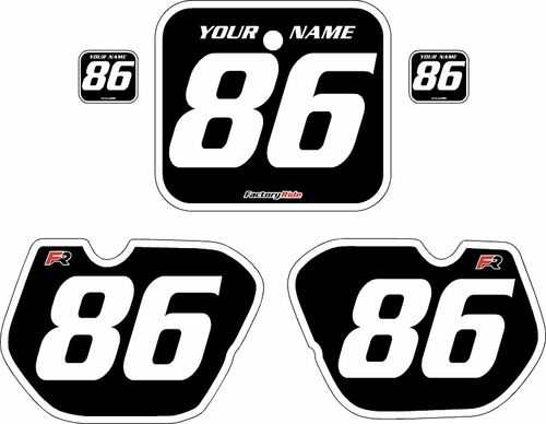 1985-1986 Honda CR125 Pre-Printed Backgrounds Black - White Bold Pinstripe by FactoryRide