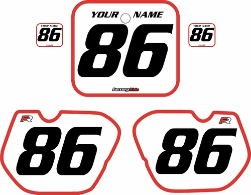 1985-1986 Honda CR125 Pre-Printed Backgrounds White - Red Bold Pinstripe by FactoryRide