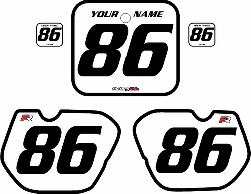 1985-1986 Honda CR125 Pre-Printed Backgrounds White - Black Bold Pinstripe by FactoryRide