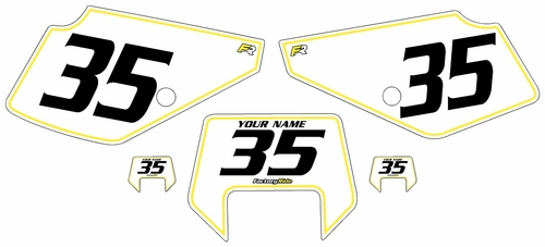 1990-2001 Suzuki DR350 Pre-Printed Backgrounds White - Yellow Pinstripe by FactoryRide