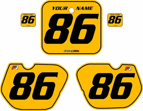 1985-1986 Honda CR125 Pre-Printed Backgrounds Yellow - Black Pinstripe by FactoryRide