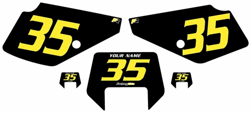 1990-2001 Suzuki DR350 Pre-Printed Backgrounds Black - Yellow Numbers by FactoryRide