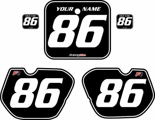 1985-1986 Honda CR125 Pre-Printed Backgrounds Black - White Pinstripe by FactoryRide