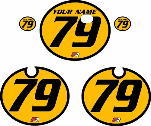 1979 Kawasaki KX250 Yellow Pre-Printed Backgrounds - Black Bold Pinstripe by FactoryRide