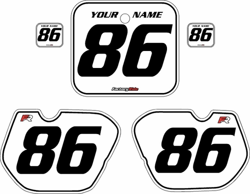 1985-1986 Honda CR125 Pre-Printed Backgrounds White - Black Pinstripe by FactoryRide