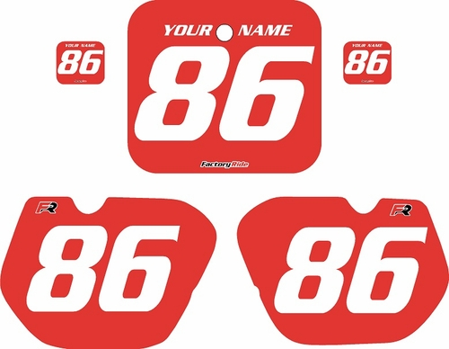 1985-1986 Honda CR125 Pre-Printed Backgrounds Red - White Numbers by FactoryRide