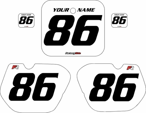 1985-1986 Honda CR125 Pre-Printed Backgrounds White - Black Numbers by FactoryRide