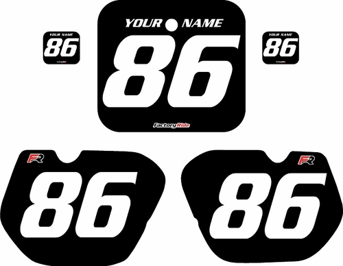1985-1986 Honda CR125 Pre-Printed Backgrounds Black - White Numbers by FactoryRide