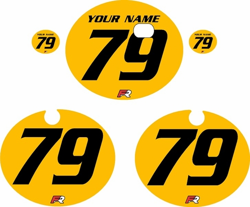 1979 Kawasaki KX250 Yellow Pre-Printed Backgrounds - Black Numbers by FactoryRide