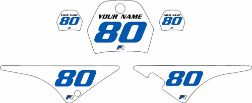 1996-2013 Yamaha PW80 Pre-Printed Backgrounds White - Blue Numbers by FactoryRide