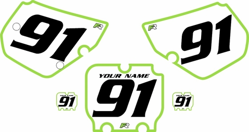 1990-1991 Kawasaki KX250 Pre-Printed Backgrounds White - Green Bold Pinstripe by FactoryRide