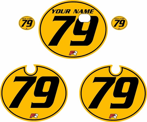 1979 Kawasaki KX250 Yellow Pre-Printed Backgrounds - Black Pinstripe by FactoryRide