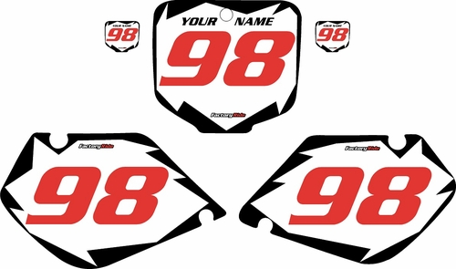 1998-1999 Honda CR125 Pre-Printed Backgrounds White - Black Shock - Red Numbers by FactoryRide